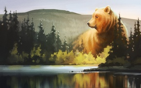 Picture forest, lake, bear