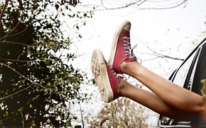 Wallpaper machine, the sky, feet, shoes, sneakers, red, the bushes, shoes