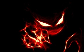 Picture red, background, black, The demon
