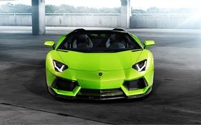 Picture Lamborghini, Lamborghini, Green, Front, Vorsteiner, Aventador, Aventador, Aventador-V, LP740-4