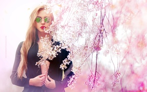 Picture flowers, style, model, glasses, lilac, Lisa