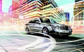 Wallpaper Mercedes-Benz, Mercedes, Line, The city