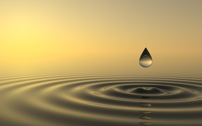 Picture sky, sunset, drop, water, sun, close, fall, ripples, zen