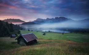Wallpaper mountains, fog, morning, houses, Alps