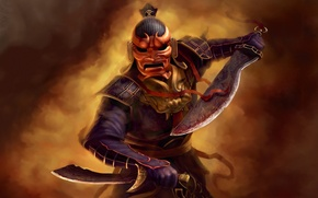Picture attack, Game, warrior, mask, swords, Jade Empire