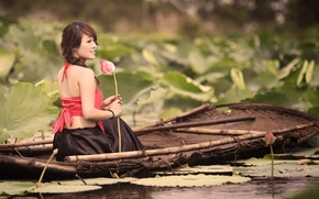 Picture girl, mood, boat, Lily, Asian