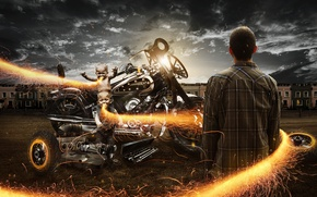 Picture fire, motorcycle, Bike, male