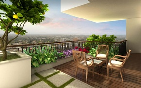 Picture flowers, the city, furniture, view, terrace