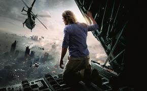 Picture The city, Fire, Ruins, Helicopter, Brad Pitt, Brad Pitt, World war Z, World War Z