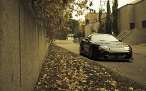 Picture autumn, grass, leaves, city, the city, lawn, Toyota, cars, auto, Toyota Supra, wallpapers auto, Wallpaper …