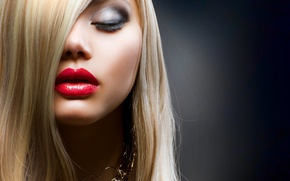 Picture lips, hair, blonde, makeup