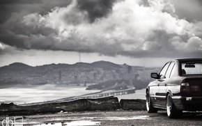 Picture landscape, mountains, clouds, lights, tuning, BMW, classic, stance, 525, bmw e34