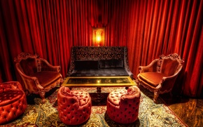 Wallpaper room, sofa, red, table, chair, lamp