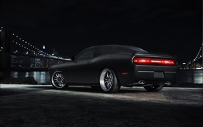 Picture night, bridge, the city, black, Dodge, Challenger, muscle car, black, Dodge, megapolis, muscle car, Challenger