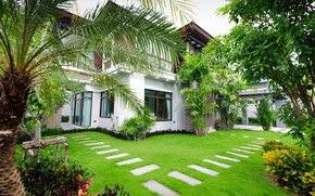 Picture greens, trees, design, house, lawn, garden, mansion, the bushes