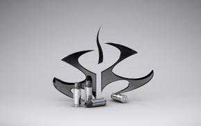 Picture symbol, Hitman, emblem, grey background, cartridges, sleeve, Hitman