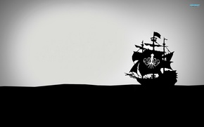 Picture ship, minimalism, black and white, pirates