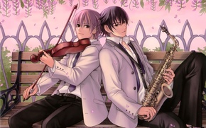 Picture flowers, bench, tree, violin, art, shop, pink, musical instrument, saxophone, hatake michi ? guys