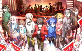 Picture sunset, the city, girls, home, anime, headphones, signs, art, player, guys, konoha, kagerou project, ayano …