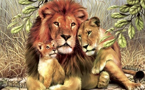 Picture leaves, Lions, family