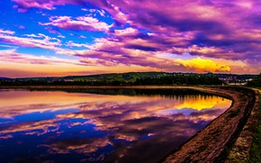 Picture the sky, clouds, lake, reflection, shore, glow