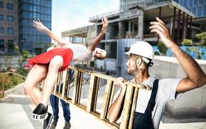 Picture girl, jump, ladder, Builder