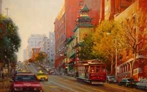 Picture autumn, sunset, picture, the evening, art, tram, taxi, pagoda, Po Pin Lin