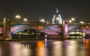 Picture night, bridge, lights, river, London, Cathedral, Holy, Thames, Paul