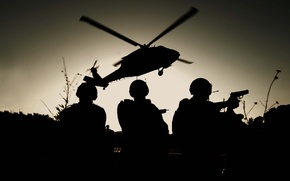 Picture helicopter, soldiers, silhouettes, special forces, landing, black hawk, THE MH-60K, night.