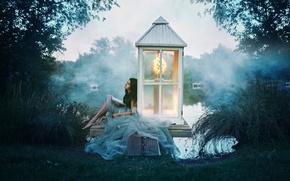 Picture lake, girl, book, Alexandra Cameron