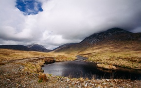 Picture grass, clouds, mountains, lake, stones, Scotland