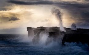 Picture sea, squirt, storm, rocks, dawn, coast