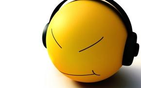 Wallpaper 3-D, Smile, Headphones