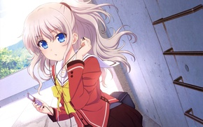 Picture girl, music, wall, headphones, player, form, bow, charlotte, tomori nao
