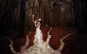 Wallpaper autumn, leaves, girl