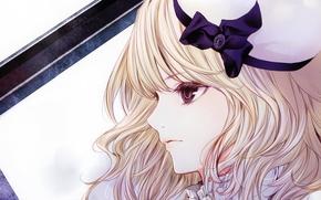 Wallpaper girl, hat, bow, art, blonde hair, Kiyohara Hiro