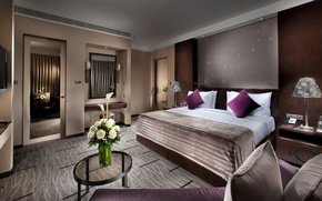 Picture flowers, design, style, room, bed, roses, interior, pillow, mirror, apartment, table, bedroom, lamps, tables