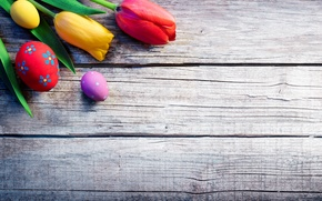 Picture flowers, holiday, Board, eggs, Easter, tulips, Easter, eggs