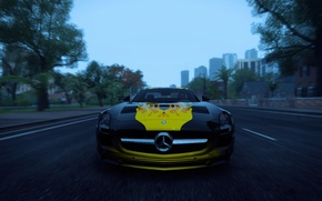 Picture road, trees, palm trees, yellow, flame, black, building, Mercedes-Benz, track, AMG, GT3, The Crew