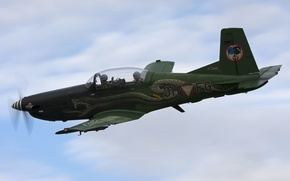 Wallpaper PC-7, the plane, flight, training