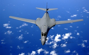 Wallpaper The sky, Water, Clouds, The ocean, The plane, Flight, Height, Bomber, Supersonic, Strategic, Rockwell, B-1 ...