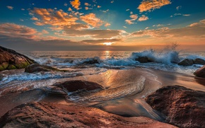 Picture sunset, the ocean, rocks, shore, Wave