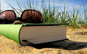 Wallpaper sand, summer, grass, stay, glasses, book, bookmark