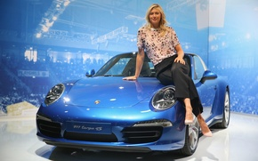 Picture smile, background, blue, blonde, beauty, exhibition, convertible, Maria Sharapova, Maria Sharapova, metallic, pants, cabrio, spotlights, …