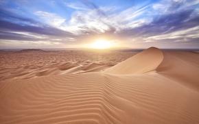 Picture the sun, clouds, desert, dunes, Sands, Morocco, Er Rachidia, Merzouga
