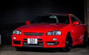 Picture Nissan, Red, GTT, Skyline. R34