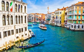 Picture people, home, boats, Italy, Venice, channel, flags, architecture, Italy, gondola, Venice