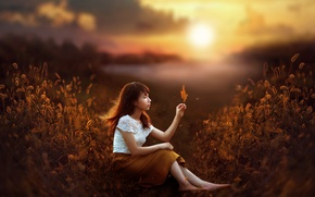 Picture autumn, sunset, girl