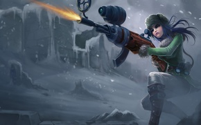 Wallpaper weapons, girl, snow, winter, shooting, league of legends, Caitlyn officer