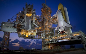 Picture twilight, spaceport, Shuttle discovery, Launch complex